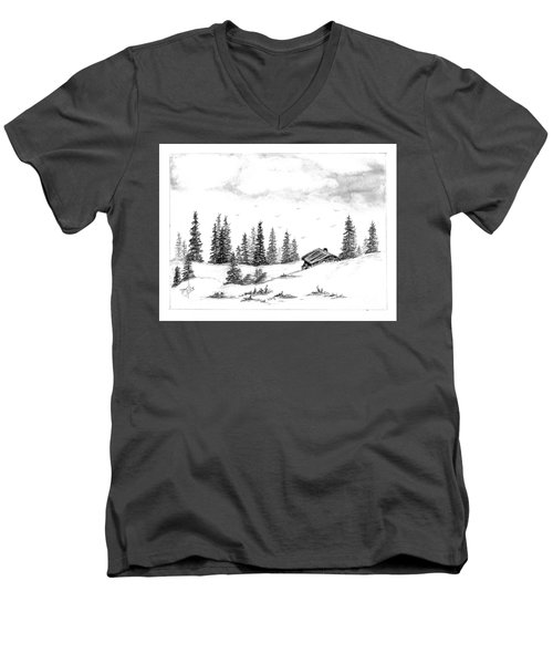 Men's V-Neck T-Shirt featuring the drawing Pinetree Cabin by Terri Mills