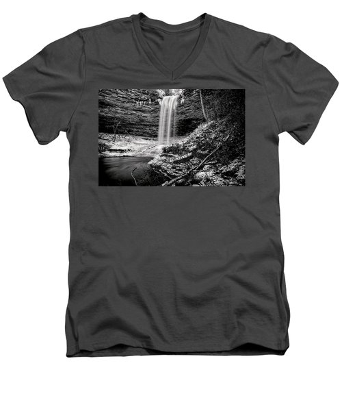 Piney Falls In Black And White Men's V-Neck T-Shirt