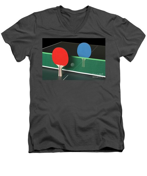 Ping Pong Paddles On Table, Standing Upright Men's V-Neck T-Shirt