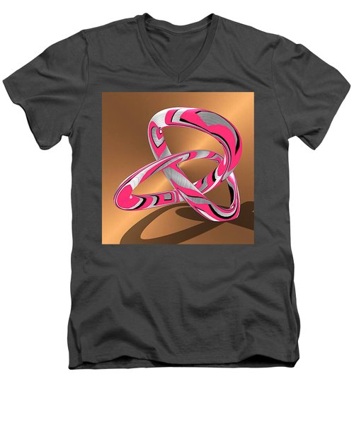 Pink Abstract On Gold Men's V-Neck T-Shirt