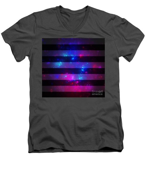 Pink And Blue Striped Galaxy Men's V-Neck T-Shirt