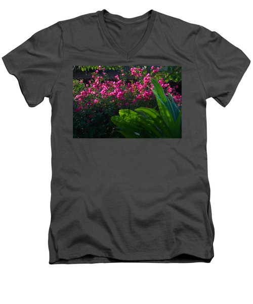 Men's V-Neck T-Shirt featuring the photograph Pink And Green by Jim Walls PhotoArtist