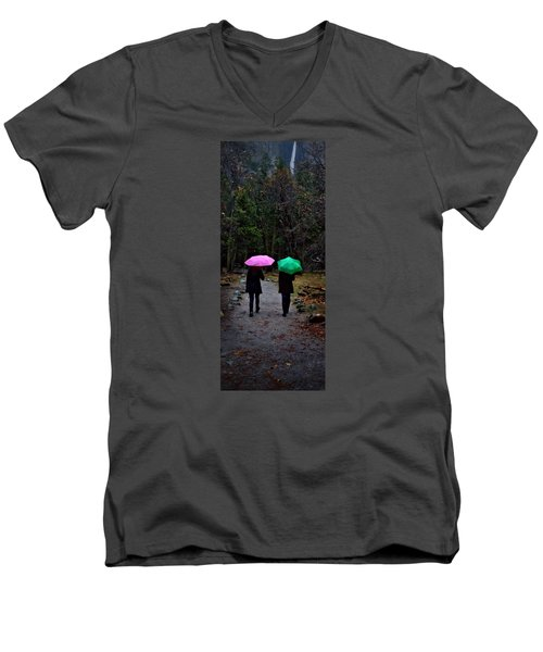 Pink And Green Men's V-Neck T-Shirt by Josephine Buschman