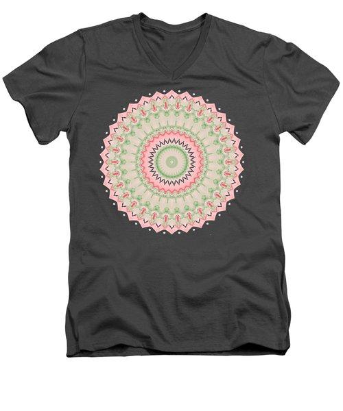 Pink And Green Mandala Fractal 004 Men's V-Neck T-Shirt