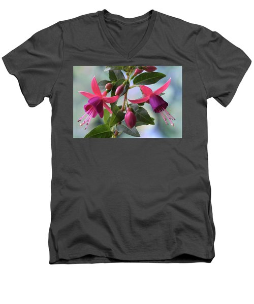 Men's V-Neck T-Shirt featuring the photograph Pink And Purple Fuchsia by Terence Davis