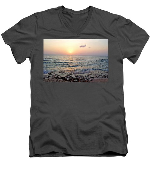 Pink And Purple Sunset Over Grand Cayman Men's V-Neck T-Shirt by Amy McDaniel