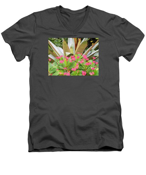 Men's V-Neck T-Shirt featuring the photograph Pink And Spiky by Kay Gilley