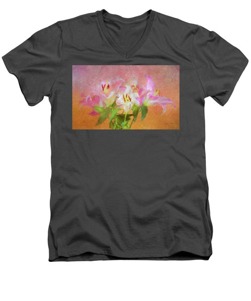 Men's V-Neck T-Shirt featuring the photograph Pink And White Lilies by Bellesouth Studio