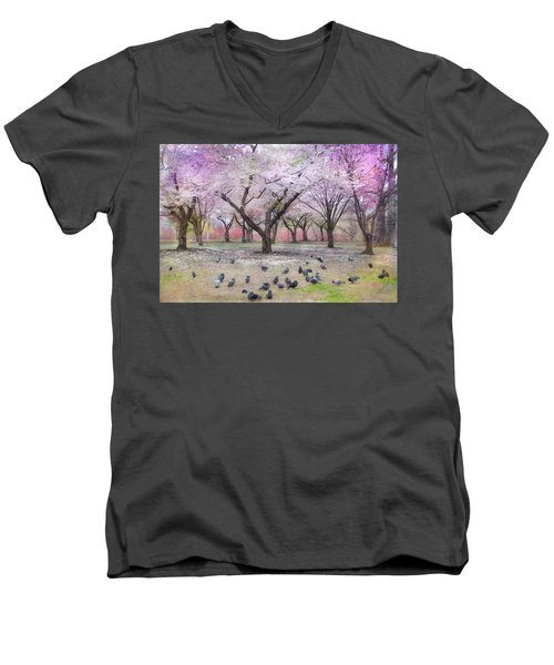 Men's V-Neck T-Shirt featuring the photograph Pink And White Spring Blossoms - Boston Common by Joann Vitali