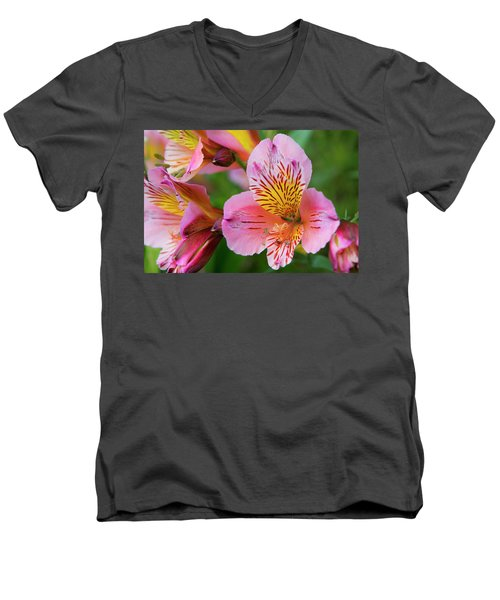 Pink And Yellow Flora Men's V-Neck T-Shirt
