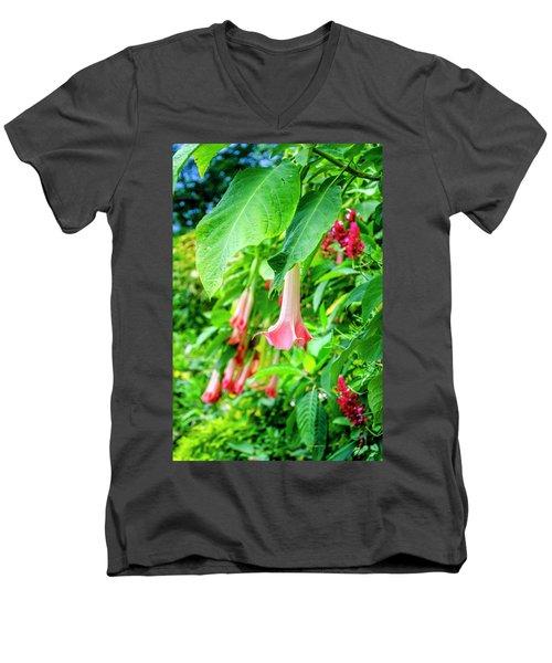 Pink Bell Flowers Men's V-Neck T-Shirt