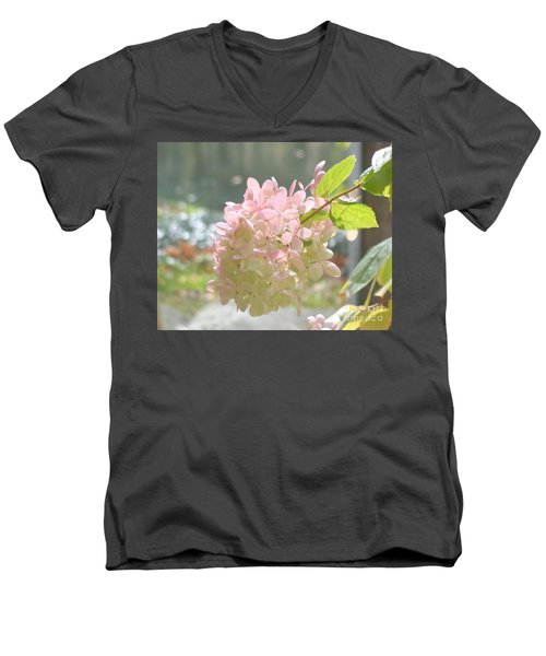 Pink Bloom In Sun Men's V-Neck T-Shirt