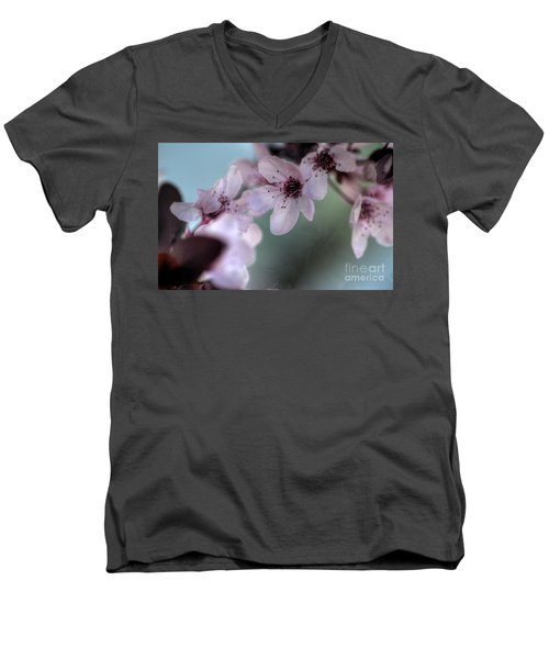 Men's V-Neck T-Shirt featuring the photograph Pink Blossoms by Jim and Emily Bush
