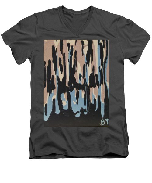 Pink Blue And Brown Drips Men's V-Neck T-Shirt by Barbara Yearty