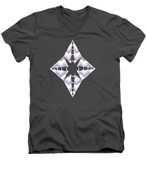 Pink Blue Chevron Pattern Men's V-Neck T-Shirt