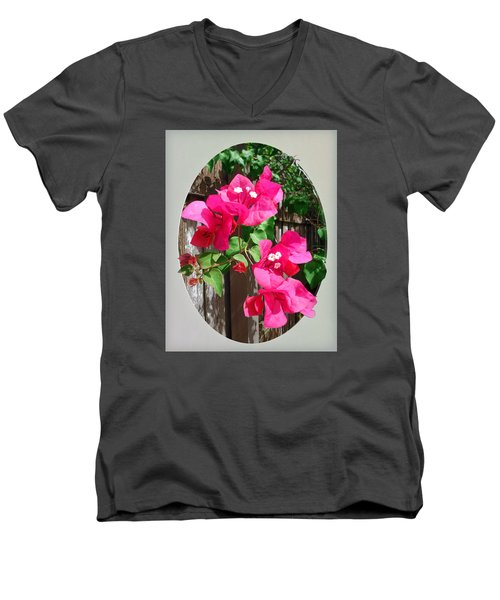 Pink Bougainvillea Men's V-Neck T-Shirt by Ginny Schmidt