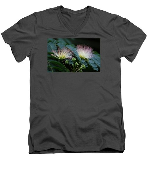 Pink Mimosa  Men's V-Neck T-Shirt by Yvonne Wright