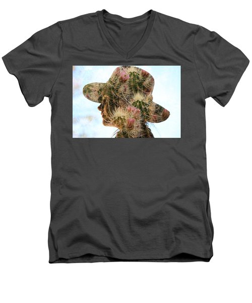 Pink Cactus Men's V-Neck T-Shirt