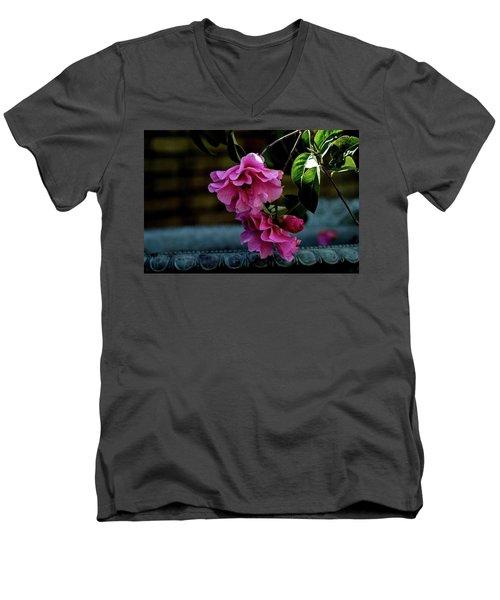 Pink Camellia Men's V-Neck T-Shirt