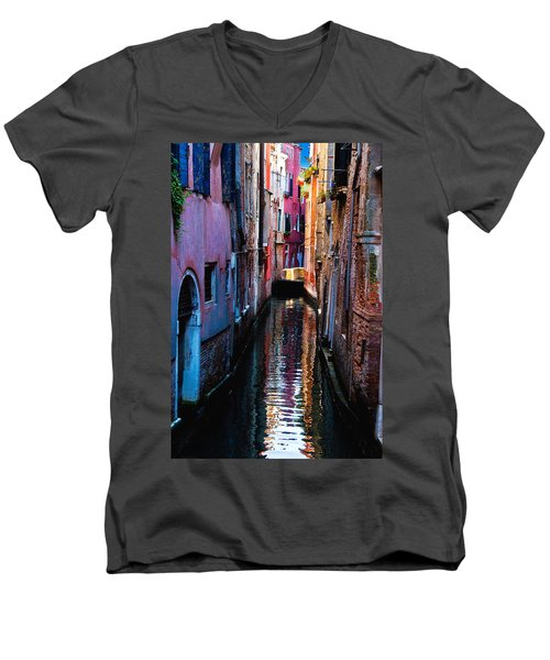 Pink Canal Men's V-Neck T-Shirt by Harry Spitz