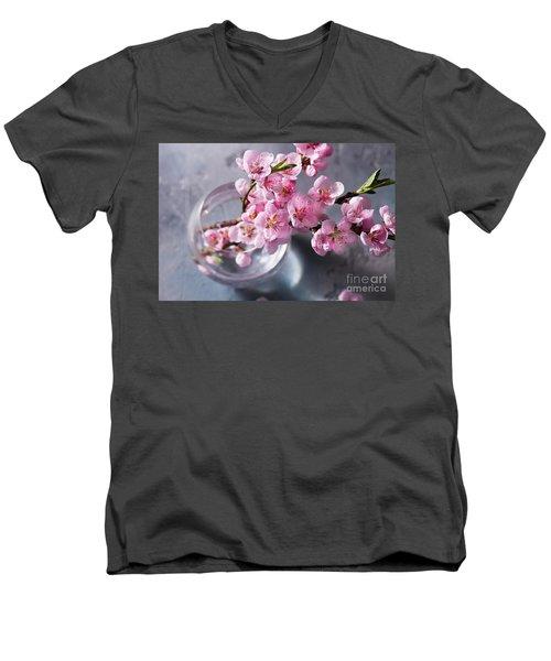Pink Cherry Blossom Men's V-Neck T-Shirt by Anastasy Yarmolovich