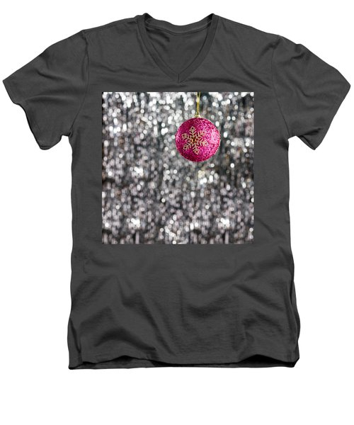Men's V-Neck T-Shirt featuring the photograph Pink Christmas Bauble by Ulrich Schade