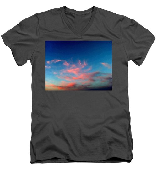Pink Clouds Abstract Men's V-Neck T-Shirt
