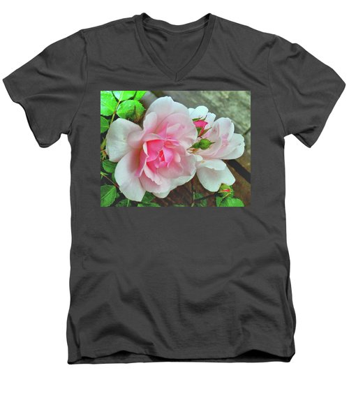 Men's V-Neck T-Shirt featuring the photograph Pink Cluster Of Roses by Janette Boyd