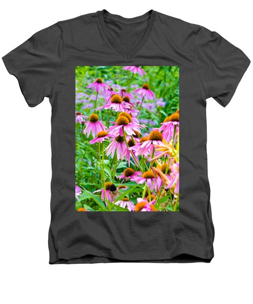 Pink Coneflower Men's V-Neck T-Shirt