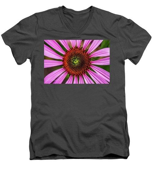 Men's V-Neck T-Shirt featuring the photograph Pink Cornflower by Joann Copeland-Paul
