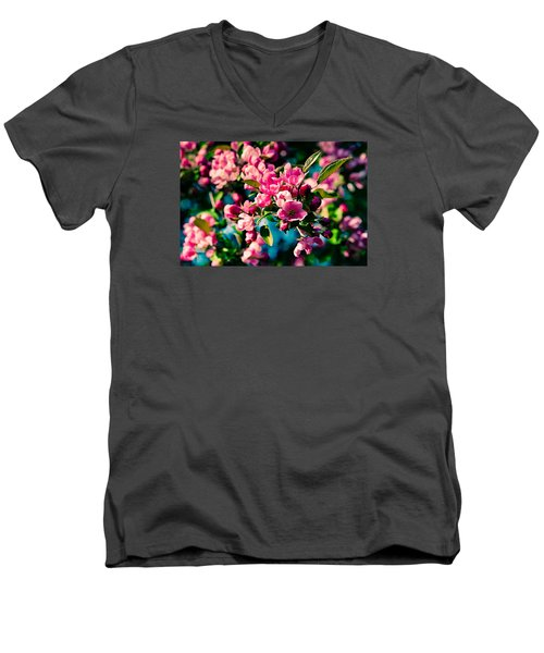 Men's V-Neck T-Shirt featuring the photograph Pink Crab Apple Flowers by Alexander Senin