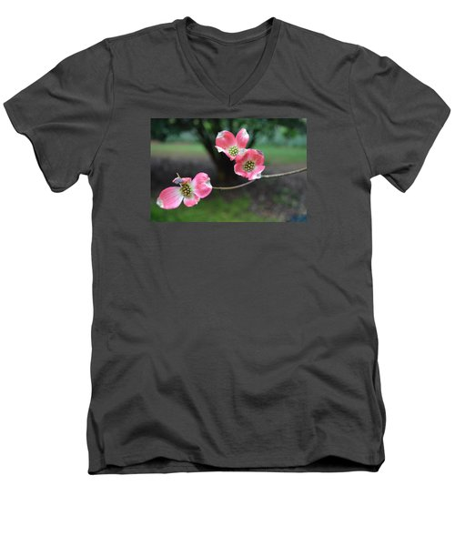 Men's V-Neck T-Shirt featuring the photograph Pink Dogwood by Linda Geiger