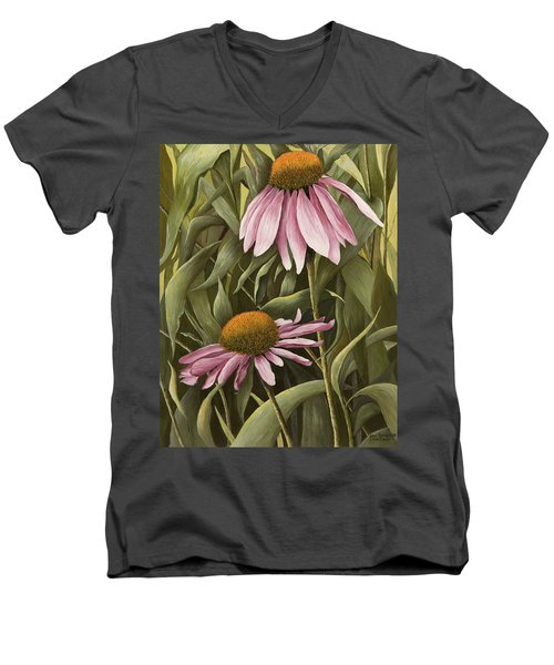 Pink Echinaceas Men's V-Neck T-Shirt