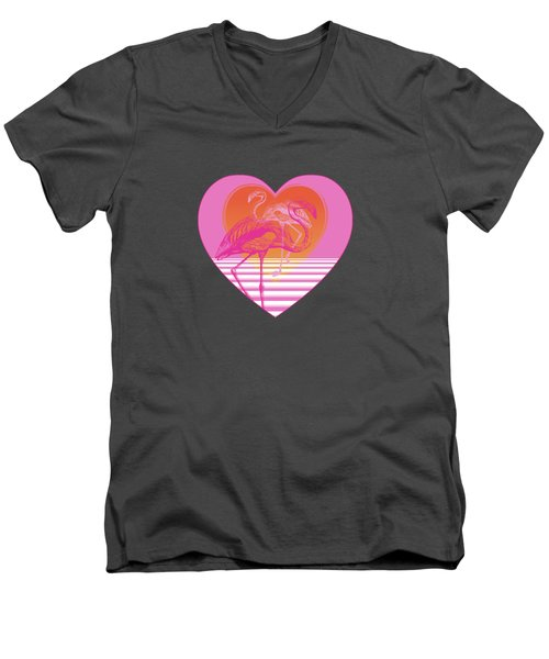 Pink Flamingos Men's V-Neck T-Shirt by Eclectic at HeART