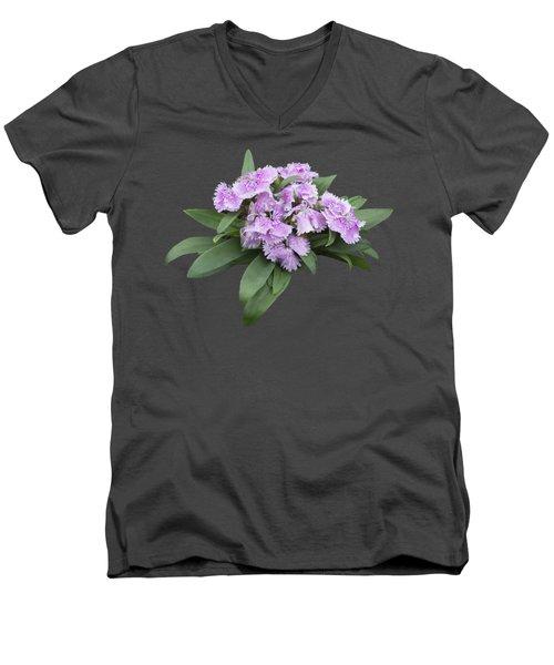 Pink Floral Cutout Men's V-Neck T-Shirt by Linda Phelps