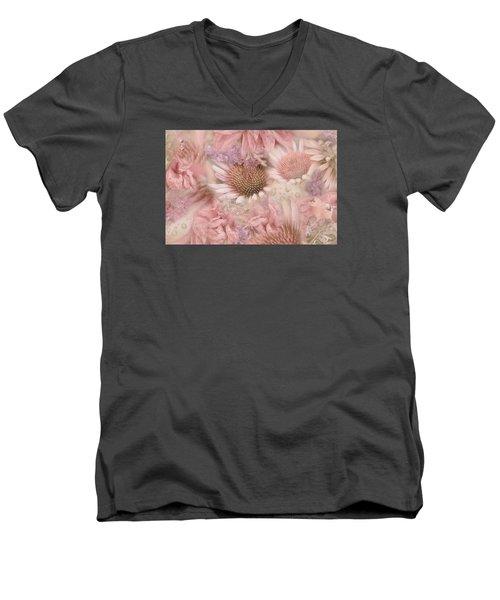 Pink Floral Montage Men's V-Neck T-Shirt by Bonnie Bruno