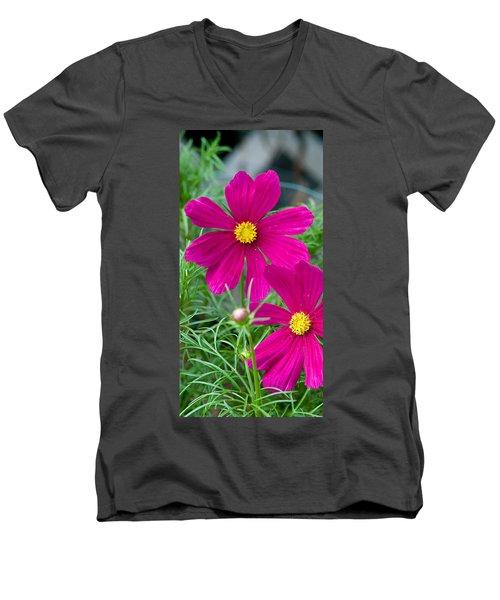 Pink Flower Men's V-Neck T-Shirt by Michael Bessler