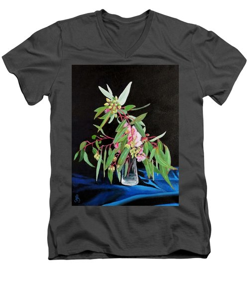 Pink Flowering Gum Men's V-Neck T-Shirt