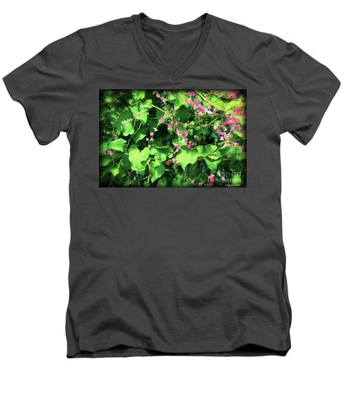 Pink Flowering Vine2 Men's V-Neck T-Shirt