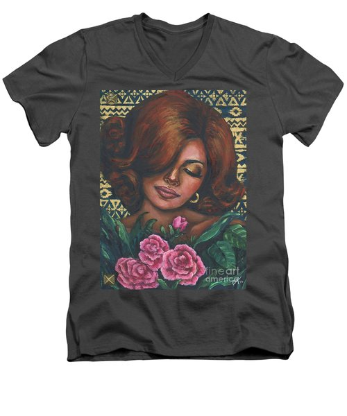Men's V-Neck T-Shirt featuring the painting Pink Flowers by Alga Washington