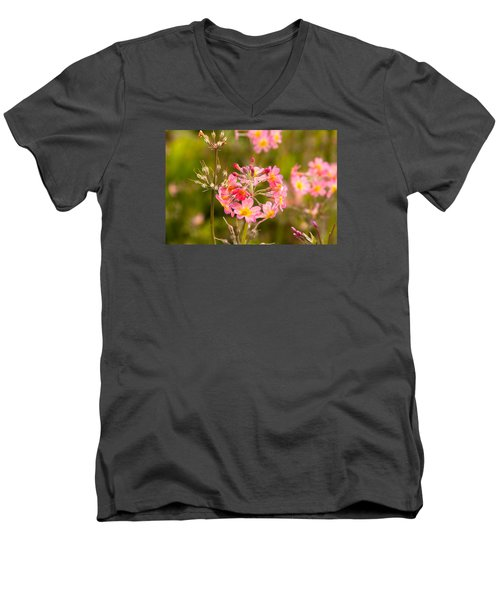 Pink Flowers In Scotland Men's V-Neck T-Shirt
