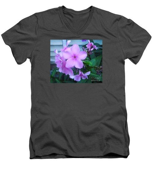 Pink Flowers In The Garden Men's V-Neck T-Shirt
