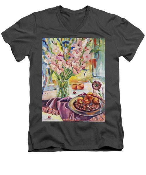 Pink Gladioas Men's V-Neck T-Shirt