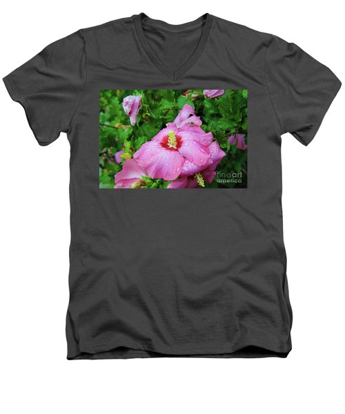 Pink Hibiscus After Rain Men's V-Neck T-Shirt by Inspirational Photo Creations Audrey Woods