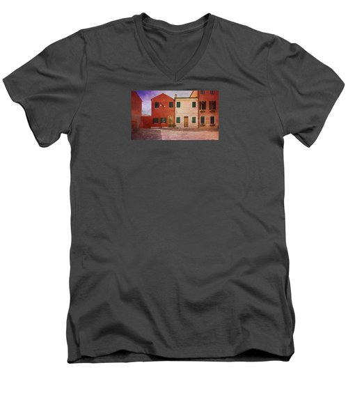 Men's V-Neck T-Shirt featuring the photograph Pink Houses by Anne Kotan