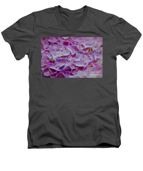 Pink Hydrangea Glow Men's V-Neck T-Shirt