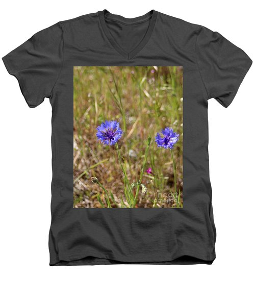 Men's V-Neck T-Shirt featuring the photograph Pink In Between by Marie Neder