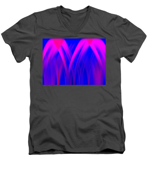 Men's V-Neck T-Shirt featuring the digital art Pink Lacing by Carolyn Marshall