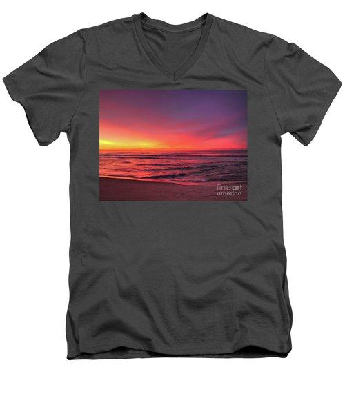 Pink Lbi Sunrise Men's V-Neck T-Shirt