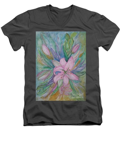 Pink Lily- Painting Men's V-Neck T-Shirt by Veronica Rickard